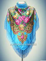 Шерстяной платок с пышной бахромой Ароматы весны, голубой