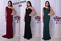 Вечернее длинное платье на одно плечо  с макраме на груди 7103408