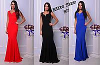 Нарядное платье в пол без рукавов и с украшением на груди 7103414
