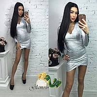 Короткое платье из голограммы с длинным рукавом (в расцветках) 5603422