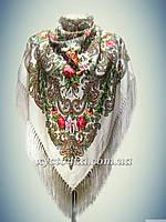 Шерстяной платок с пышной бахромой Лилия, кремовый
