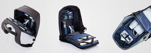 Рюкзак Антивор Bobby черный, серый + USB, фото 3