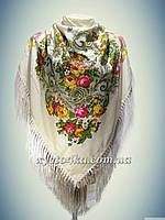 Шерстяной платок с пышной бахромой, кремовый