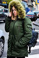 Зимняя куртка парка хаки на меху