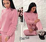 Женский стильный костюм машинной вязки шерсть и акрил: свитер под горло и прямые штаны с манжетами (4 цвета), фото 2