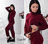 Женский стильный костюм машинной вязки шерсть и акрил: свитер под горло и прямые штаны с манжетами (4 цвета), фото 9
