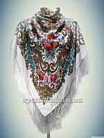 Шерстяной платок с пышной бахромой Лилия,белый