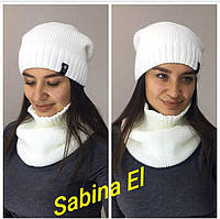 Теплый женский комплект (шапка и снуд) из полушерсти 70753