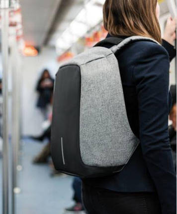 Рюкзак Антивор Bobby черный, серый + USB, фото 2