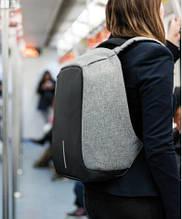 Рюкзак Антивор Bobby черный, серый + USB