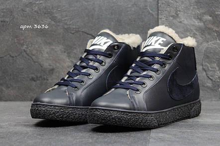 Зимние высокие кроссовки Nike,кожаные,на меху,темно синие, фото 2