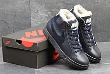 Зимние высокие кроссовки Nike,кожаные,на меху,темно синие, фото 3
