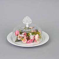 Блюдо с крышкой (15*24 см) металл, стекло