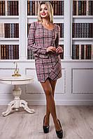 Выразительный женский костюм (букле, клетка, асимметричный фасон, юбка, жакет, баска) РАЗНЫЕ ЦВЕТА!