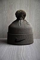 Стильная тёплая шапка Найк с бубоном