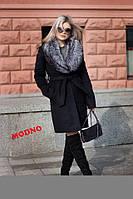 Женское зимнее пальто Ксения с искуственным воротником черное
