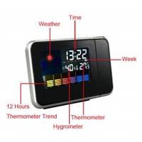 Многофункциональные часы-метеостанция с будильником и проектором времени с ЖК экраном