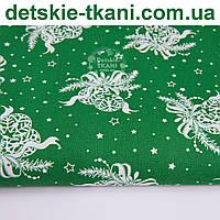 """Новогодняя ткань """"Игрушки с бантиками"""" на зелёном фоне, № 1015"""