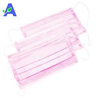 Маски розовые медицинские защитные 50 штук в упаковке