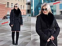 Женское зимнее пальто Ксения с воротником песец черное