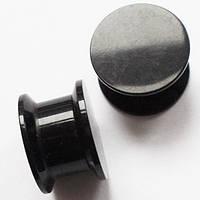 Черные акриловые плаги без рисунка (раскручиваются), диаметр 12 мм, для пирсинга ушей.(цена за 1шт)