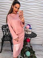 Супер женский комплект юбка и кофта с брошью