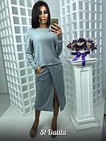 Женский ангоровый костюм юбка с разрезом