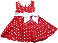 Элегантное детское платье в горошок с бантом 128 8+