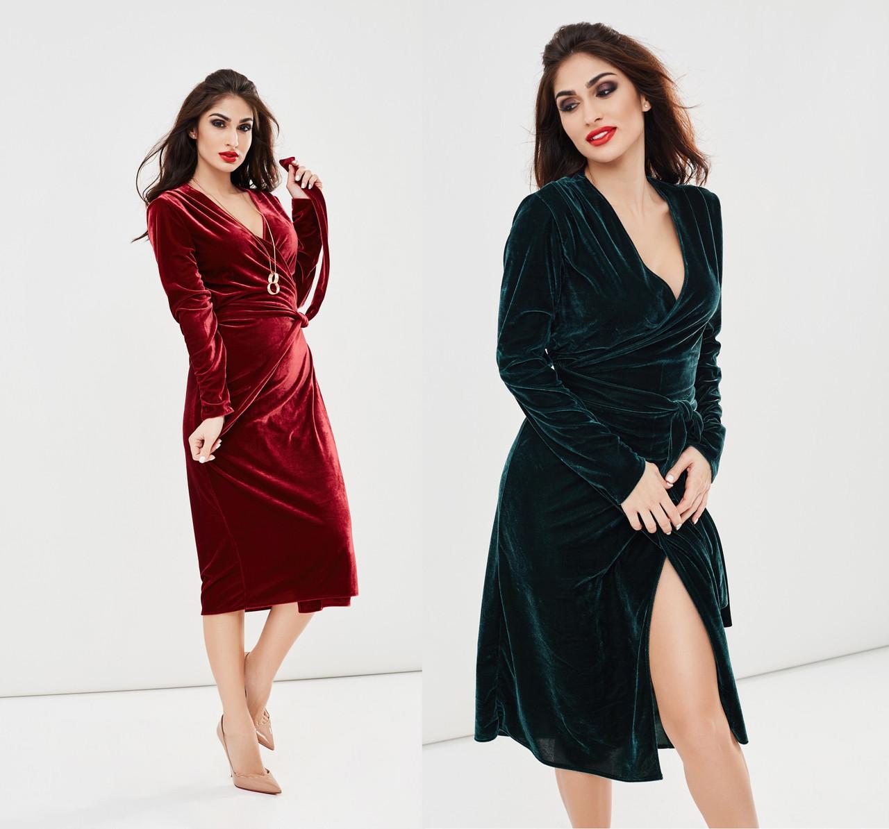 105edf837f8 Женское бархатное платье на запах размеры 42-54 -