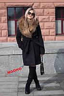 Женское зимнее пальто Ксения с воротником енот черное