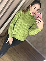 Теплый женский свитер вязка косичка (фабричный Китай, акрил + нейлон, воротник под горло) РАЗНЫЕ ЦВЕТА!