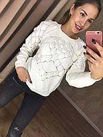 Оригинальный женский свитер с объемной вязкой (фабричный Китай, акрил + хлопок) РАЗНЫЕ ЦВЕТА!