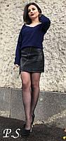Женская стильная кожаная юбка с молниями