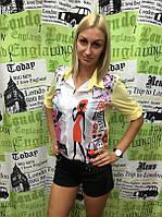 """Рубашка женская летняя из креп-шифона Турция """"Girls Fashion"""""""