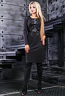 Элегантное женское платье (трикотаж, эко кожа, длина миди, длинные рукава, декоративная отделка) РАЗНЫЕ ЦВЕТА!