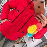 Модная женская куртка красная черная на синтепоне