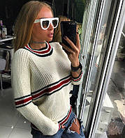 """Модный, женский, вязаный свитер с полосатым принтом """"DINA""""шерсть с хлопком""""  ( РАЗНЫЕ ЦВЕТА"""