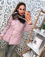 Стильная болоньевая куртка с мехомом черная лиловая