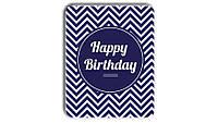 Металл открытка табличка Happy Birthday синяя