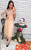 """Оригинальное, женское платье-миди осень-зима """"Вязаный свитер переходящий в юбку из органзы"""" РАЗНЫЕ ЦВЕТА"""