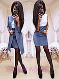 Женское модное двухцветное платье и удлиненный пиджак (7 цветов), фото 2