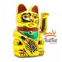 Кошка Манеки Неко машущая лапой Gold