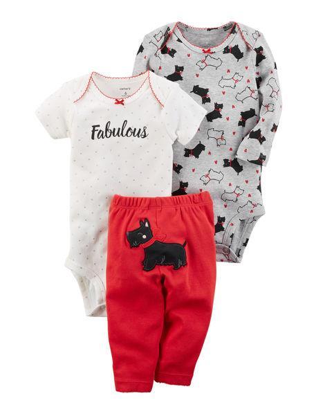 Комплект 3в1 для девочки Carter's(Картерс) красный, белый и серый 12М (72-78 см)