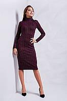 Деловое женское трикотажное платье в полоску бордовое