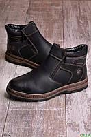 Мужские ботинки черного цвета зимние размер 45 обувь № 16592