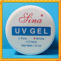 Гель Lina для наращивания ногтей, 15 мл. White - Белый