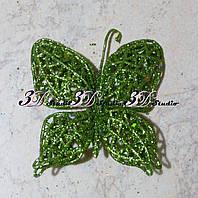 Бабочка в глиттере декоративная зеленая