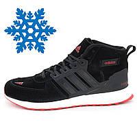 Мужские зимние кроссовки Adidas Ultra Boost черные с красным.