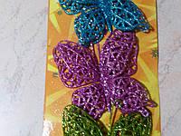 Бабочка в глиттере декоративная малиновая