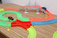 Конструктор MAGIC Tracks 360 деталей Светящийся гнущийся трек 2 машинки на 5 Led  мост ХИТ !!!